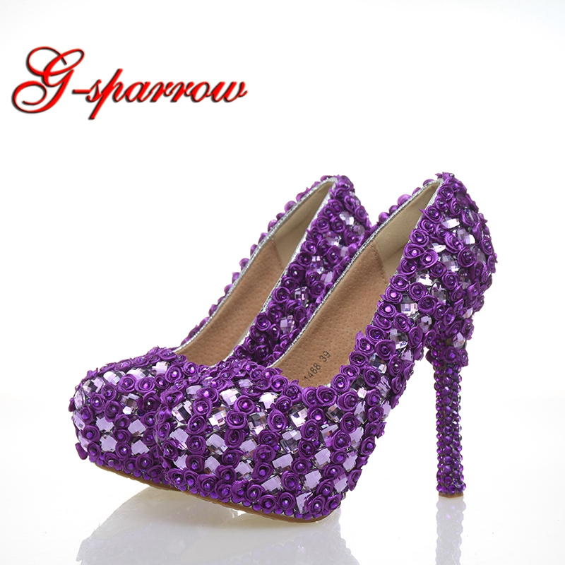Purple Rose and Rhinestone Luxury Shoes Women Wedding Sheos Pretty Bride Wedding Party High Heels Genuine Leather Prom Pumps
