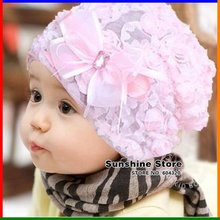Sunshine Store #2C2567 10 pcs/lot (2 colors) Rosette -Shabby Chic baby hat flower!girls  beanies lace bowknot spring cap CPAM