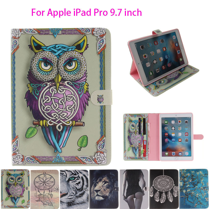 Fashion Painted Funda Case For Apple iPad Pro 9.7 inch Smart Case Cover lion Owls Tiger animal Ultra Slim Silicone Leather Shell smart tiger