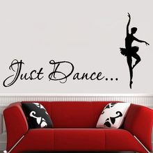 Just Dance Wall Stickers Home Decor - Ballet Dancer Wall Decal Dance Studio Wall Art Decoration - Girls Bedroom , Dorm Wallpaper(China)