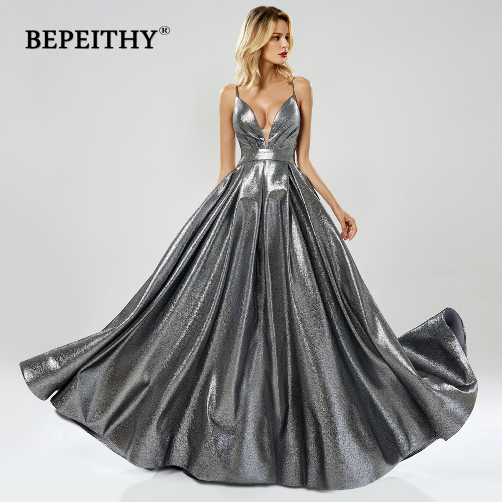 BEPEITHY Deep V Neck A Line Gray Long Prom Dresses 2019 Vestidos De Gala Sexy Backless New Glitter Evening Party Gown Dress