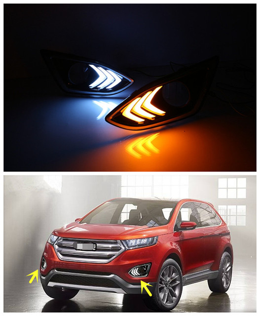 V Car Accessories Led Drl Daytime Running Light Daylight With Yellow Turn Signal For Ford Edge