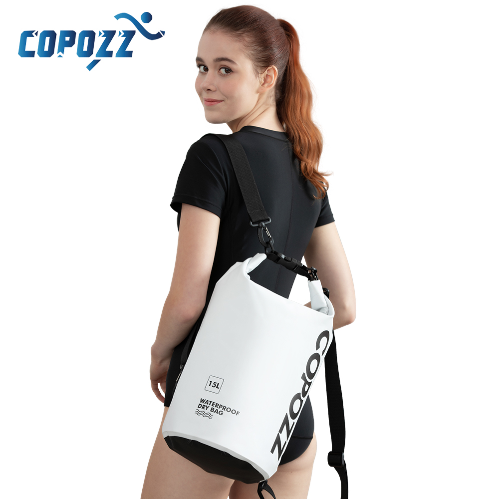 COPOZZ Swimming Bags Waterproof Bag Dry Bag PVC 15L Outdoor Sport Storage Bags Roll Top For Gym Travel Adjustable Sac Etanche