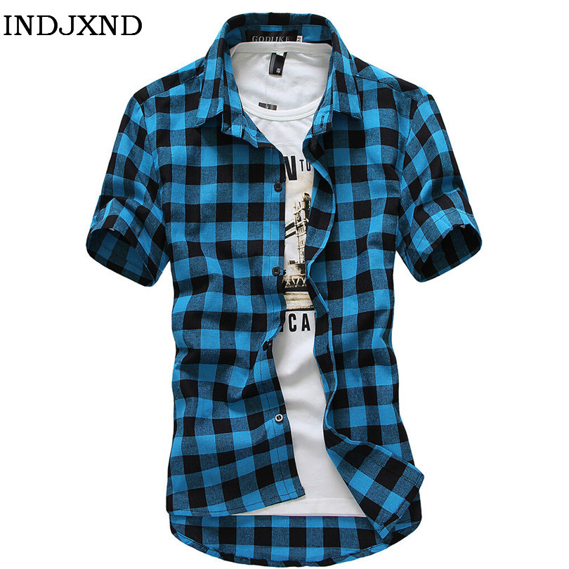 Multicolor Plaid Shirt Spring Men Camisas Blue Shirt Autumn Chemise Mens Topstitching Shirts Short Sleeve Casual Grid Shirt B004