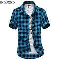 Multicolor Plaid Shirt Spring Men Camisas Blue Shirt Autumn Chemise Mens Topstitching Shirts Short Sleeve Casual Grid Shirt B004