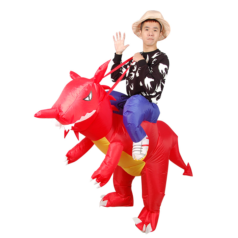 Red Dinosaur Cosplay Costume Riding Dino Inflatable Costume Masquerade Halloween Props Movie Cosplay halloween costumes for Man