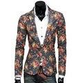 Moda 2015 Nuevo Diseño Hombres Blazer Floral Traje de Los Hombres de La Personalidad Chaqueta Casual Para Hombres Blazer Slim Fit Chaqueta Tamaño de Los Hombres M-2XL