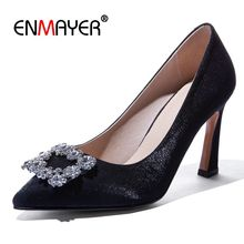 ENMAYER Silk Basic Super High  Zapatos De Mujer Moda 2019 Vestir Pointed Toe Party Women Heels Slip-On Size 34-43 LY1394