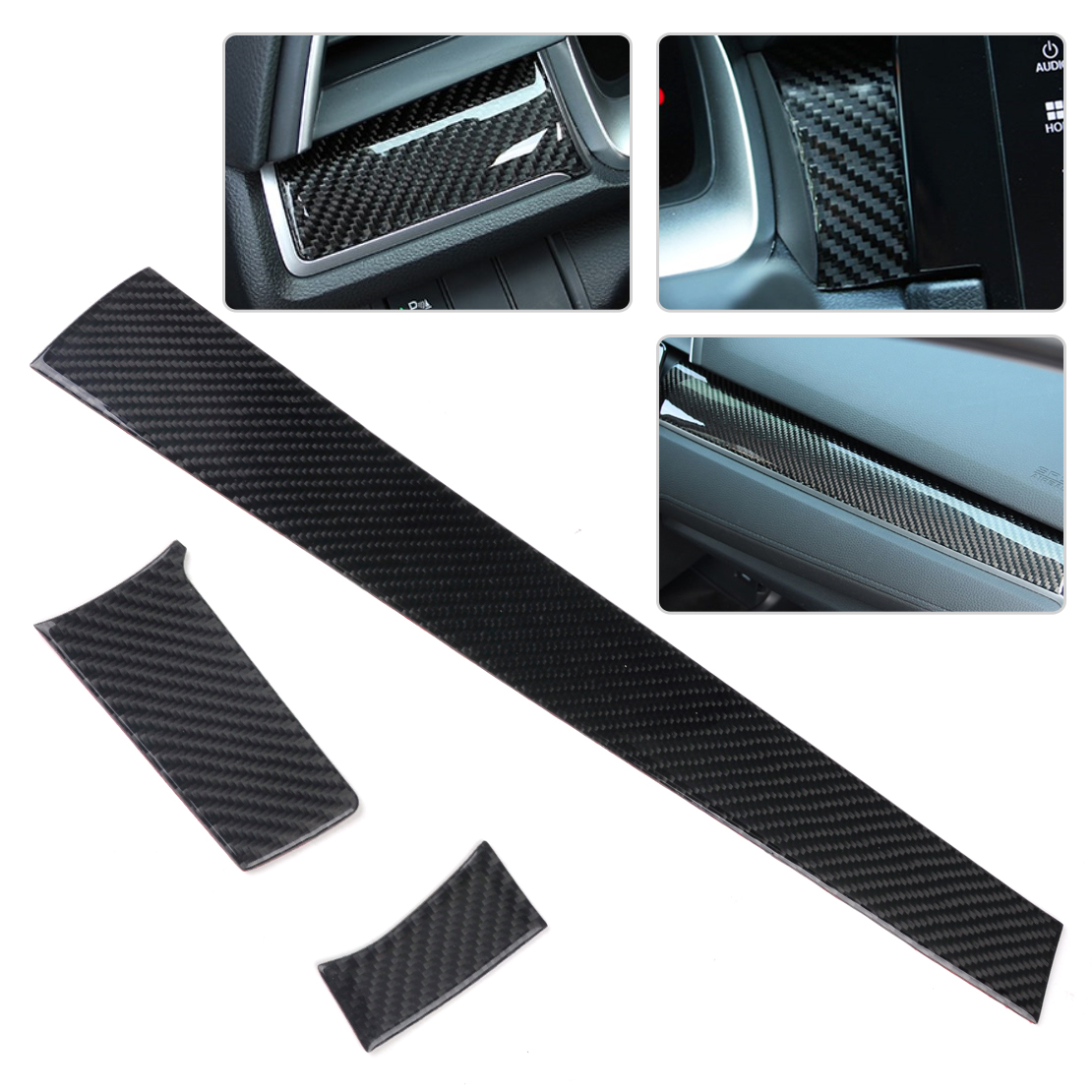 beler High Performance 3pcs Black Carbon Fiber Center Console Dashboard Cover Trim Sticker Fit for Honda Civic 2016 best top selling new stylish decal carbon fiber skin sticker for xbox one console