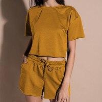 2018 Whatiwear Summer Women Set Solid Two Piece Short Sexy Fashion Top Elastic Waist Pants Crop