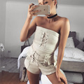 Zewo Lace Up Crop Top Women Off Shoulder Summer Beach Cropped Tops Sexy Short Slim Bustier Elegant Ladies Tank Top Party Clothes