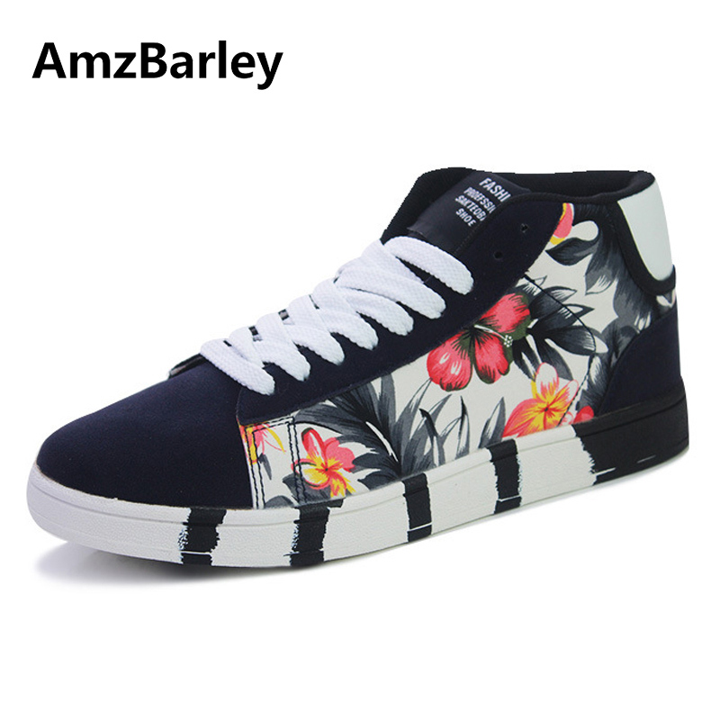 AmzBarley Men Shoes Casual Shoe Footwear Floral Printed Lace Up High Top Trainers Male Zapatillas Deportivas Hombre Fashion casual dancing sneakers hip hop shoes high top casual shoes men patent leather flat shoes zapatillas deportivas hombre 61
