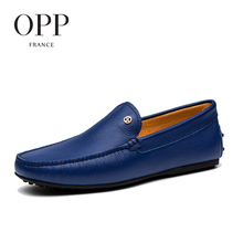 OPP 2017 Cow Leather Flats Comfortable Blue Shoes Genuine Leather Loafers For Men Shoes moccasins Summer Mens Casual Footwear