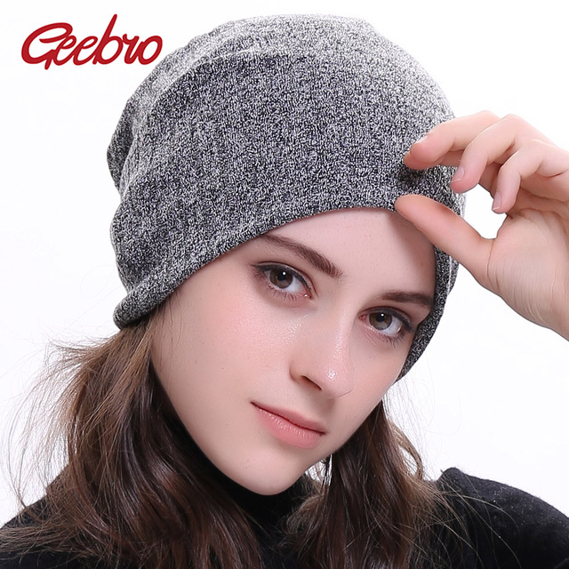 f955952ea64 Geebro Women Knitted Ribbed Beanies Hat Autumn Cap Solid Color Hip-hop  Girl s Slouch Hats Skullies Chapeu Feminino DQ411N