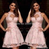 Элегантные коктейльные платья розового цвета с кружевной аппликацией и коротким рукавом платье для выпускного с открытой спиной Вечерние