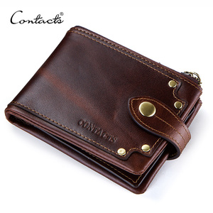 Image 1 - CONTACTS crazy horse cowhide leather men wallets short mens purse card holder male carteira masculina zipper cartera hombre