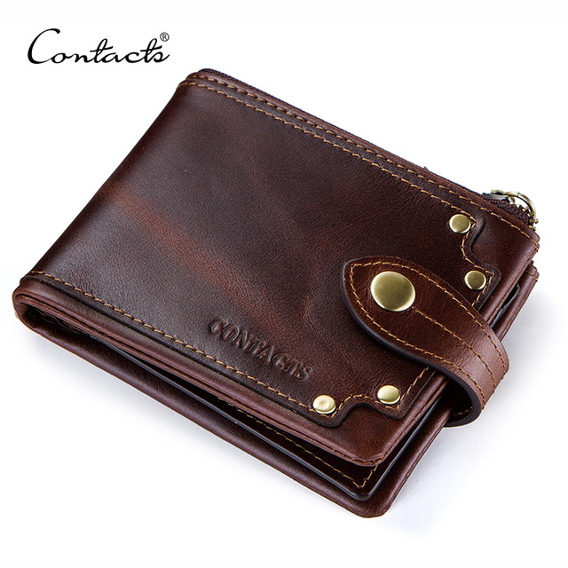 CONTACTS crazy horse cowhide leather men wallets short mens purse card holder male carteira masculina zipper cartera hombre
