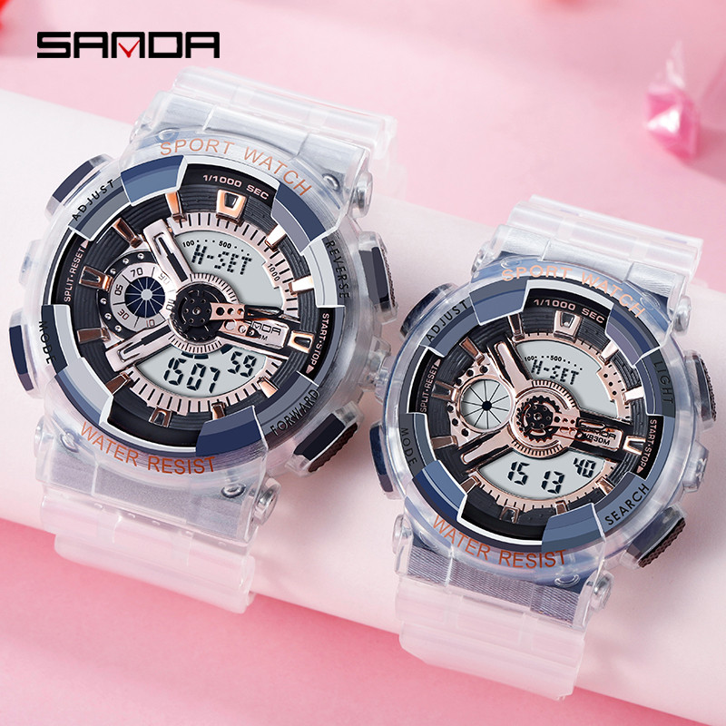 Transparent Strap Couple Watch White Color Lovers Watches Fashion Waterproof Sport Man and Woman Digital Pair