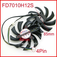 2pcs/lot 85mm FD7010H12S 12V 40mm Hole Graphics Video Card Replacement For Sapphire HD 7790 7850 7870 7950 Cooler Cooling Fan
