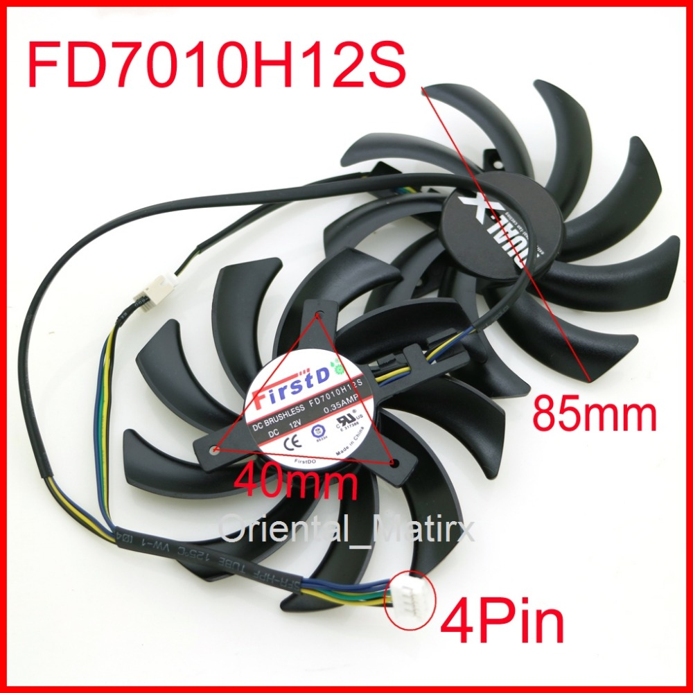 2pcs/lot 85mm FD7010H12S <font><b>12V</b></font> <font><b>40mm</b></font> Hole Graphics Video Card Replacement For Sapphire HD 7790 7850 7870 7950 Cooler Cooling <font><b>Fan</b></font> image
