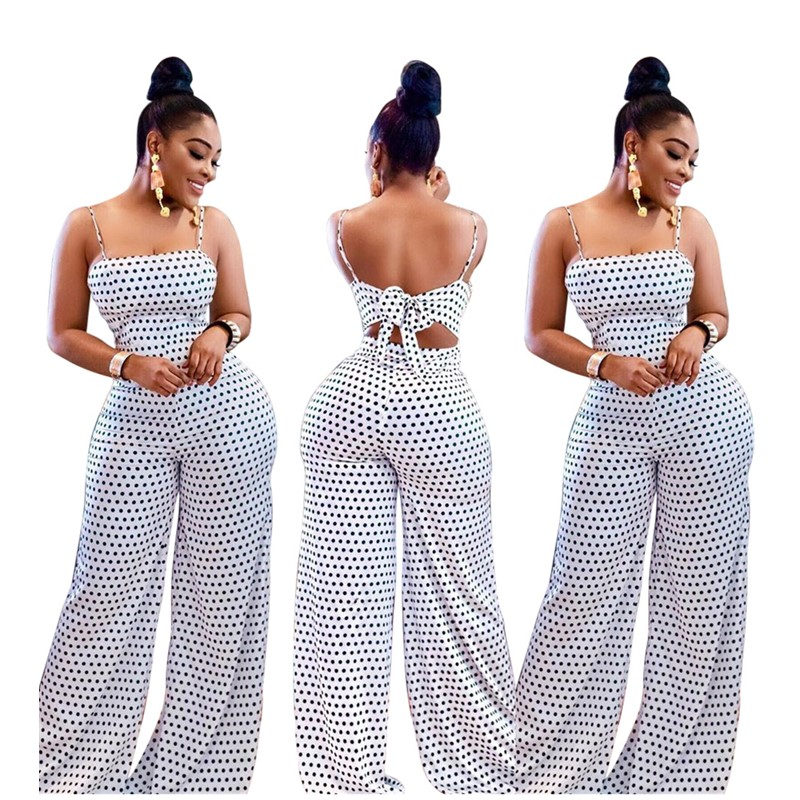 Summer Women's Fashion Casual White Spot High Waist Sling Dot Loose Rompers   Jumpsuit   Print Wrapped Chest Straps Beach   Jumpsuit