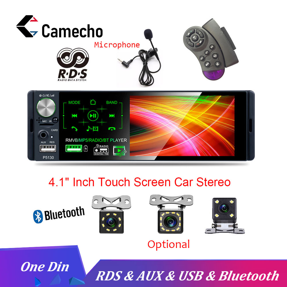 Camecho 4.1 Autoradio 1 Din Car Radio Bluetooth Touch Screen RDS USB AUX MP5 Video Player MP3 Auto Audio Stereo Rearview Camera