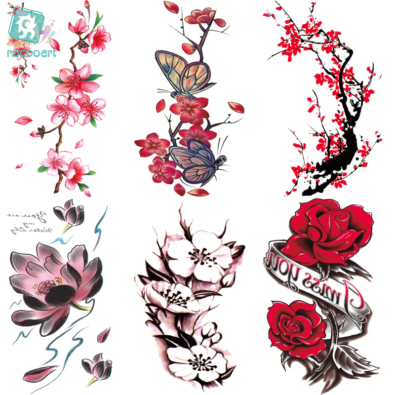 Rocooart QC651-677 20X10cm Colorful tatuajes temporales tattoo sleeves Body Art flowers Series Temporary Tatoos Sticker Taty image