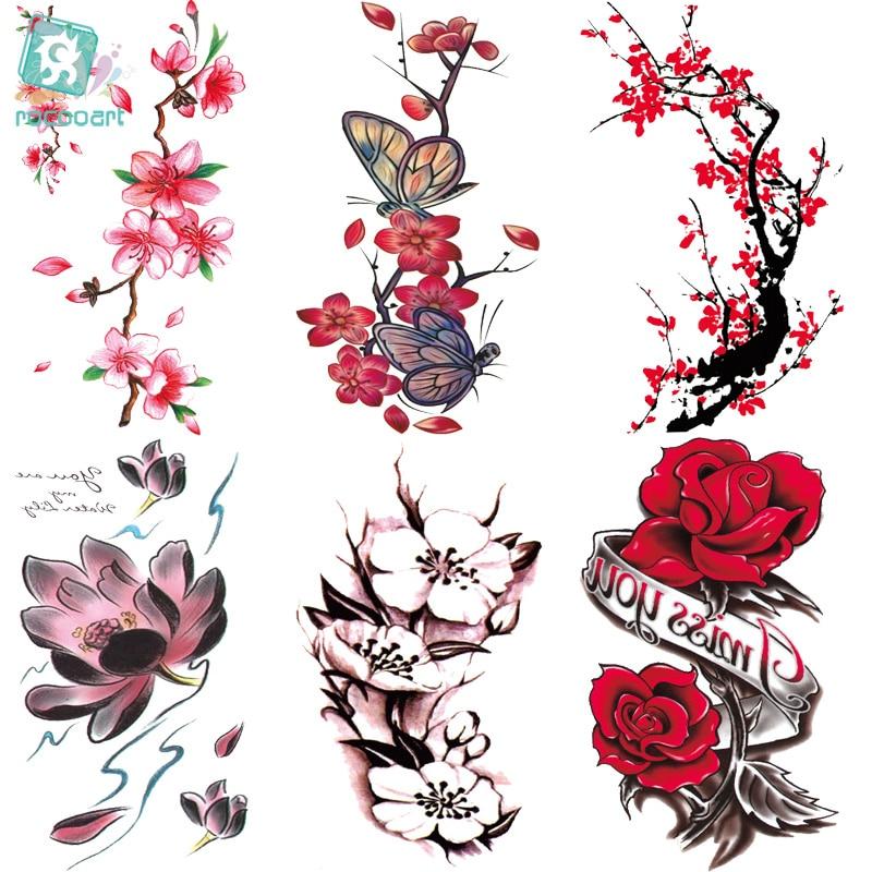 Rocooart QC651-677 20X10cm Colorful Tatuajes Temporales Tattoo Sleeves Body Art Flowers Series Temporary Tatoos Sticker Taty
