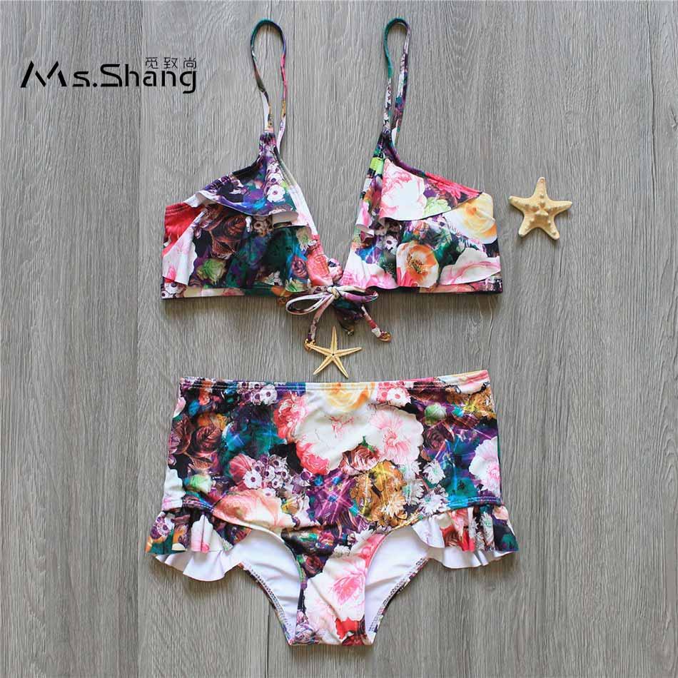 Ms Shang High Waist Bikini Set Floral Print Swimsuit Bikinis Women Ruffle Sexy Brazilian Bikini 2017 Padded Swimwear Female S/M