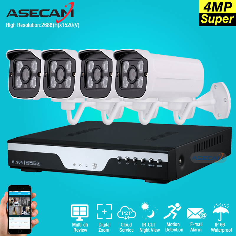 все цены на 4ch Super HD 4MP CCTV Camera H.264 Video Recorder DVR AHD Home Outdoor Security Camera System Kit Array Video Surveillance P2P