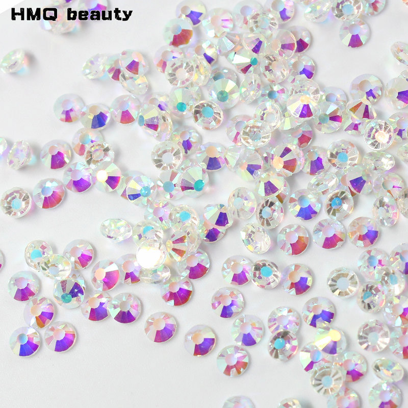 1440pcs fashion Shiny Nail Art Rhinestones Clear Crystal AB Glass 3D nails decoration Faceted Non Hot fix Stone super shiny 5000p ss16 4mm crystal clear ab non hotfix rhinestones for 3d nail art decoration flatback rhinestones diy