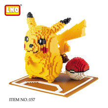 LNO Japanese Cartoon Pikachu Diamond Nanoblock Toys Big Size Cute Anime Slef-assembly Model Mini Building Bricks Christmas Gifts