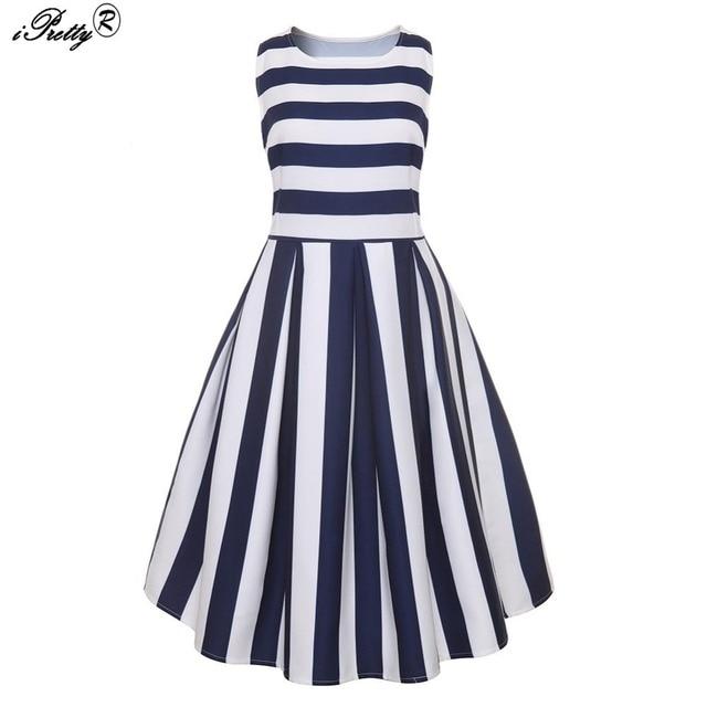 2018 Retro Vintage Sleeveless Navy Blue White Stripes Print 50s 60s Vintage  Dresses Audrey Hepburn Rockabilly Flare Dress 4311c79ce974