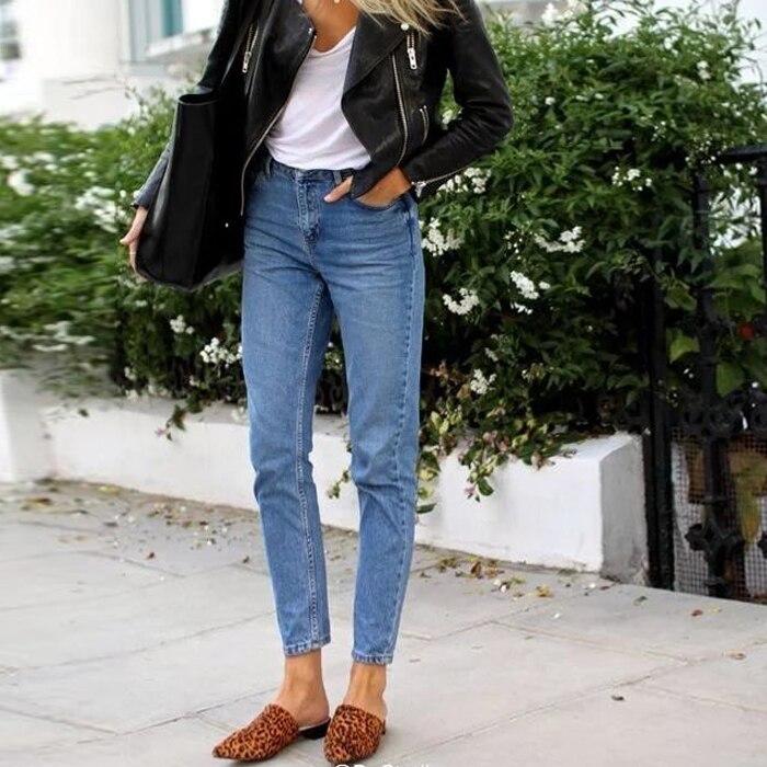 ФОТО Classic Vintage Mom Jeans Women Autumn High Waist Jeans Pants Loose Trousers Cowboy Casual Boyfriend Jeans