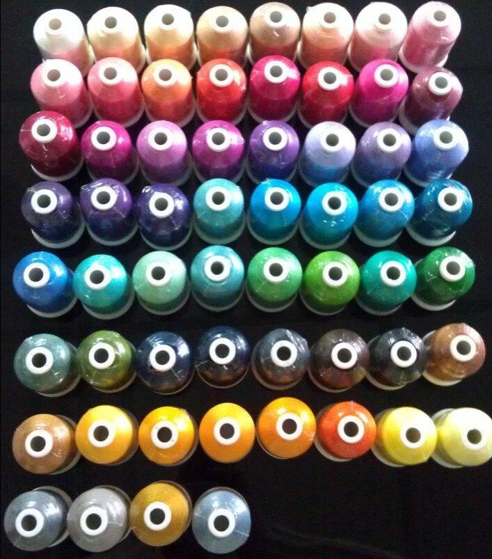 60 Brother Barvy série Trilobal Polyester Stroj Vyšívací vlákno vlákno Ideální pro většinu strojů 1000m * 60 Rozmanité barvy