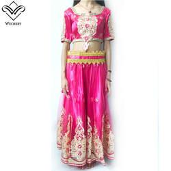 Wechery Индии Стиль живота юбка для танцев и кроп-топы с аппликацией живота Танцы костюм миди рукав длинные юбки