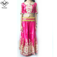 Wechery India Style Belly Dance Skirt and Crop Tops Appliques Design Bellydance Costume Midi Sleeve Long Skirts