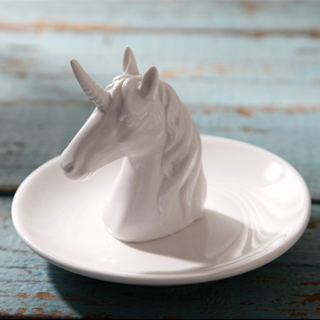13x9cm Nordic unicorn ceramic jewelry tray ring storage plate candy storage dish ornaments photo props home decoration office