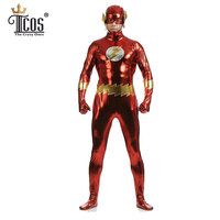 Jay Garrick Flash Cosplay Costume Costum Man Shiny Metallic Spandex Zentai Bodysuit Halloween Carnival Birthday Party Costumes