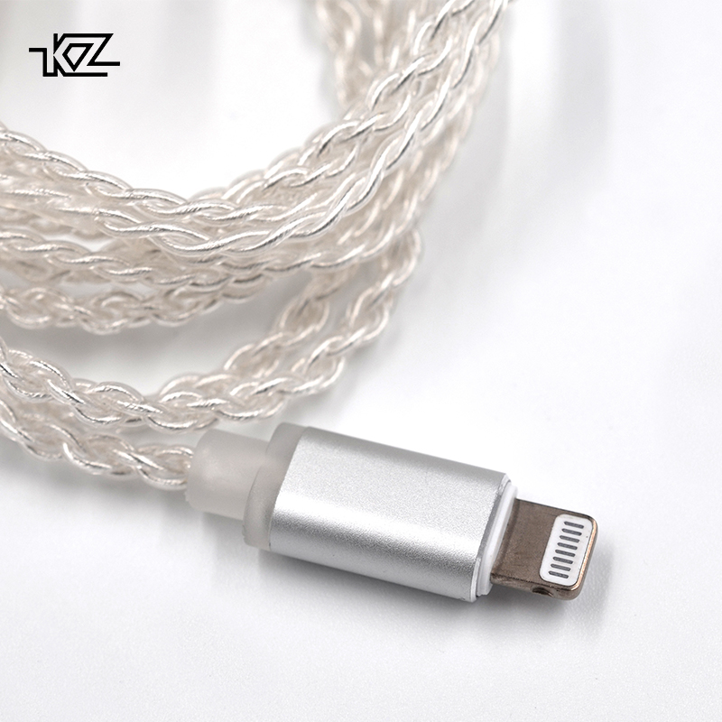KZ Earphones Lightning Silver plated upgrade cable for iPhone for ZST ZS10 ES3 ES4 AS10 BA10 ZS6 ZS5 ZS4 ED16 MMCX Pin new original kz es3 zs5 zs6 zs10 zs3 ed12 zst cable silver plated high purity ofc upgrade earphone cable 0 75mm for kz earphones