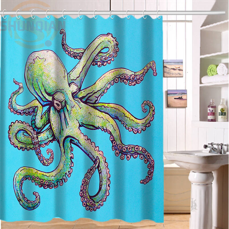 New Vintage Octopus Shower Curtain Classical Design Bathroom Waterproof Modern Print Art Bath Curtains 168x182cm66X72inch In From Home