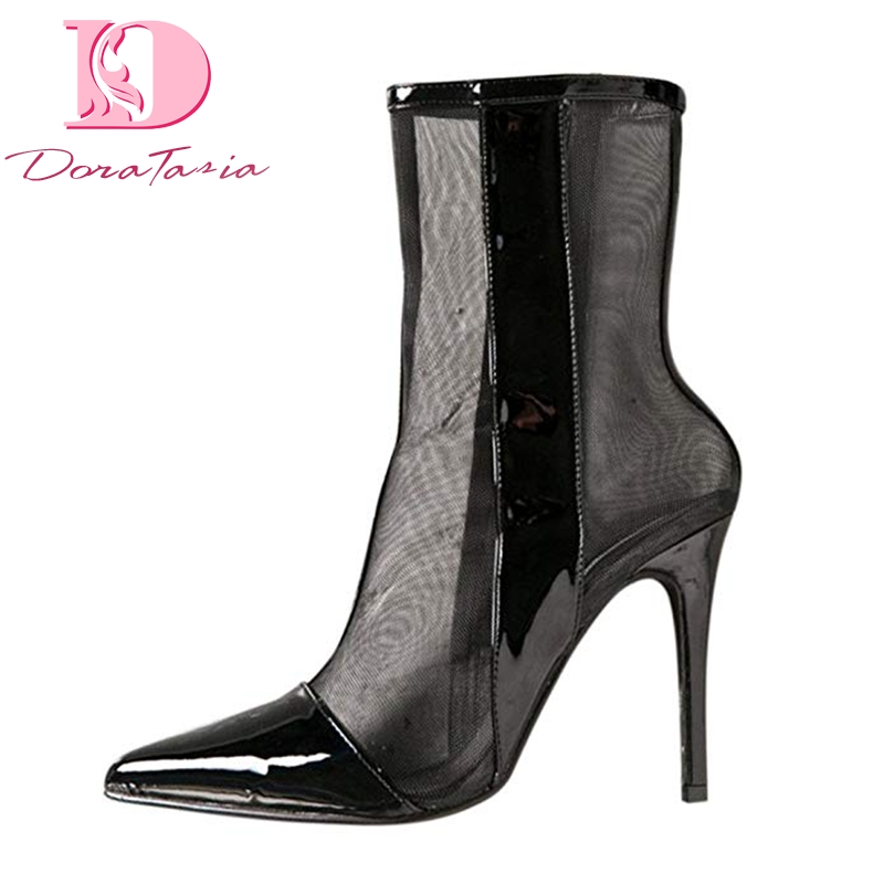 Doratasia New Big Size 43 Brand Design Pointed  Toe Women Party Summer Boots Shoes Woman Sexy Air Mesh High Heels Woman BootsDoratasia New Big Size 43 Brand Design Pointed  Toe Women Party Summer Boots Shoes Woman Sexy Air Mesh High Heels Woman Boots
