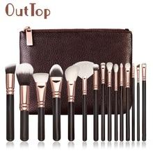 Levert Dropship 15 PCS Pro Makeup Brushes Set Cosmetic Complete Eye Kit Case 0324B