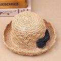 Nuevas muchachas de la llegada ahueca hacia fuera playa transpirable verano Bowknot del sombrero del sol casquillo de la paja de color caqui