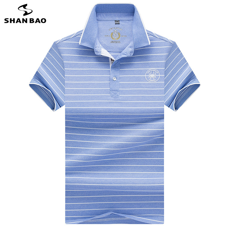SHANBAO brand printed lapel short-sleeved   Polo   shirt 2019 summer new style business casual fashion men's striped   Polo   shirt