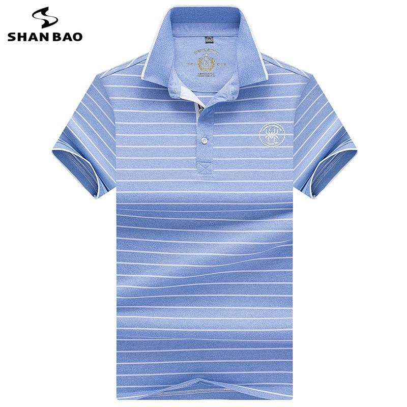 SHANBAO marque imprimé revers à manches courtes Polo chemise 2019 été nouveau style affaires décontracté mode hommes rayé Polo