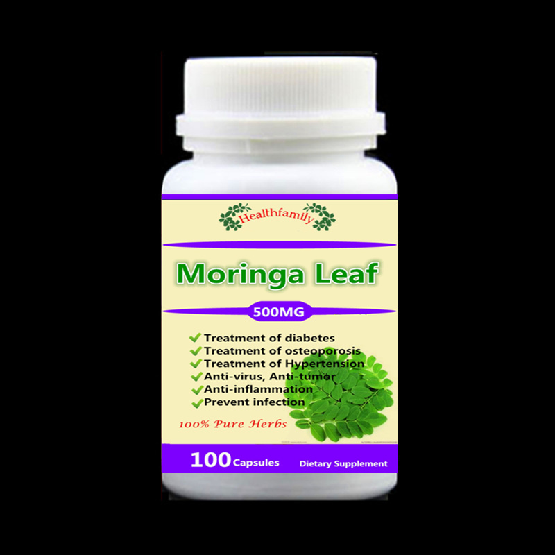 Natrual Moringa Leaves Extract,For diabetes,osteoporosis,high blood pressure,anti-virus, anti-tumor, 100pcs/bottle cofoe yice 100 pcs test strips and 100pcs needles lancets only strips without device for diabetes blood collection medical tools