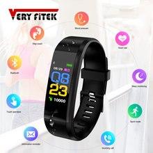 Смарт браслет ID115 PLUS, смарт браслет с цветным экраном, спортивные часы с шагомером, фитнес трекер для бега, ходьбы, пульсометр