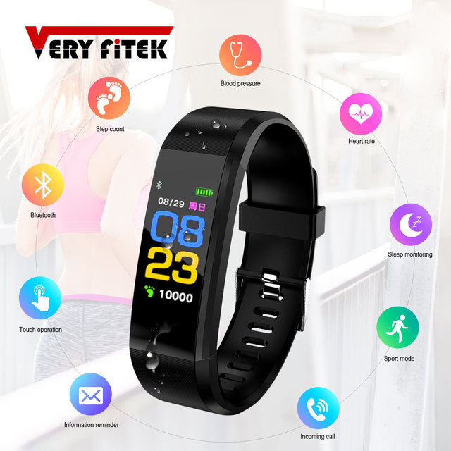 ID115 زائد شاشة ملونة سوار ذكي الرياضة ساعة عداد خطى اللياقة البدنية تشغيل المشي المقتفي القلب معدل عداد الخطى الذكية الفرقة