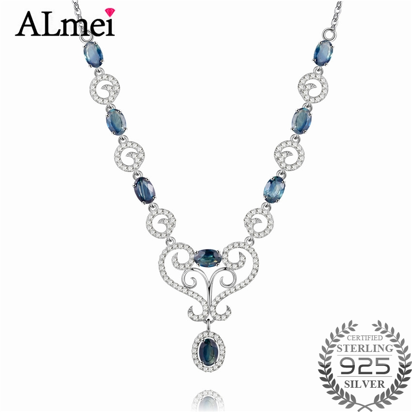 Almei Girls 0 5ct Sapphire Birthstone Long Necklaces Solid Silver 925 Engagement Zircon Jewelry for Women